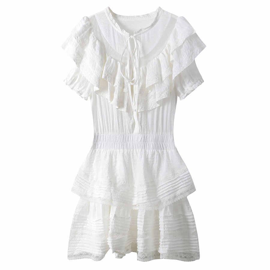 FC King/осень 2018, однотонное милое платье, сексуальное, Сетчатое, перспективное, кружевное, лоскутное, женское платье с вышивкой, Каскадное, гофрированное платье