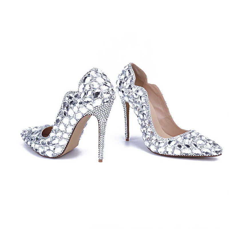 2cd8641dfe8 Theater Stage High Heels Silver Rhinestone Wedding Shoes 11cm High Heel  Handicraft Birthday Party Shoes Bride Dress Shoes
