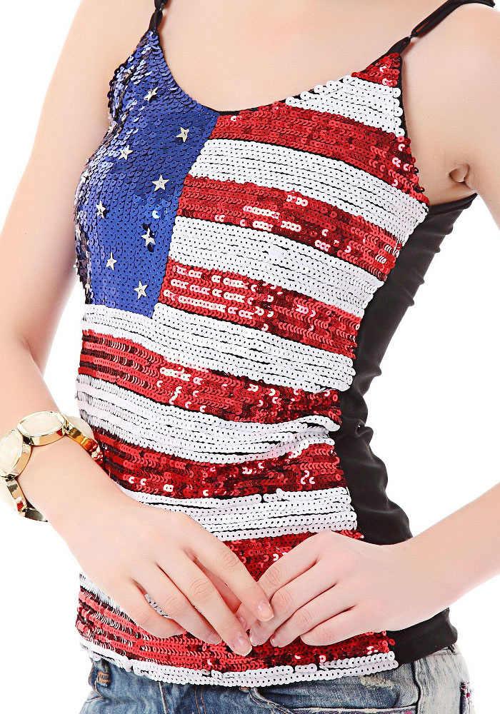 Пикантные Для женщин Американский британский флаг печати Блестками Блестящие топы сексуальные ночные клубы Костюмы хип-хоп боди FX22