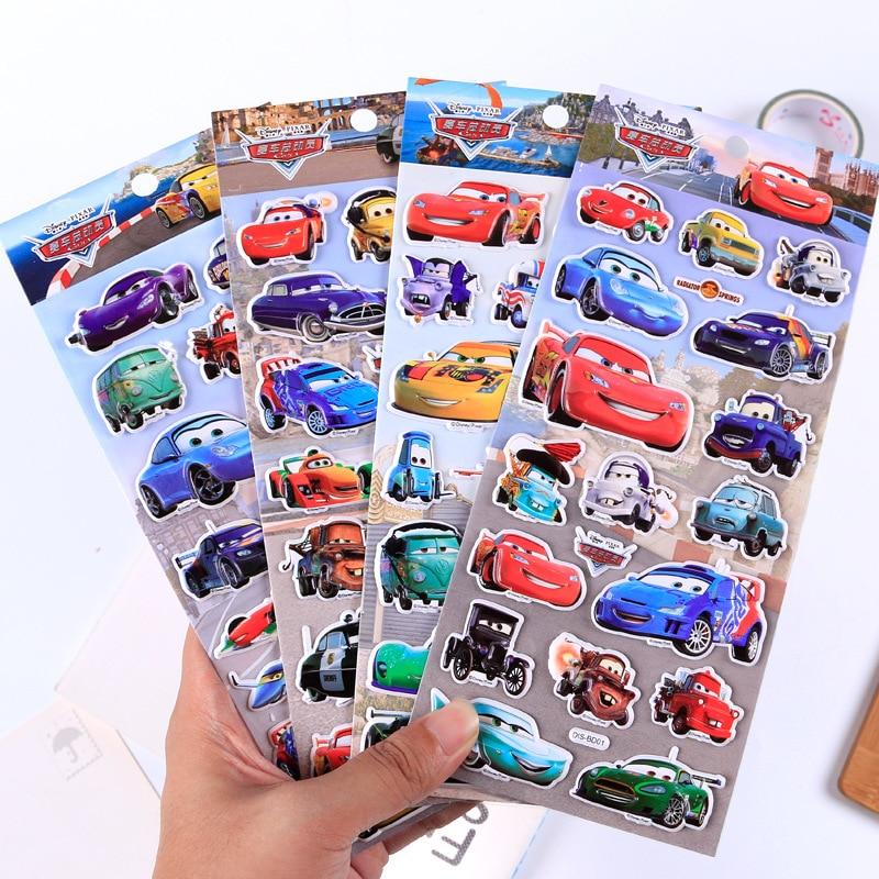 Disney Children Cartoon Stereo 3d Stickers Kindergarten Reward Stickers Cute Car Mobilization Bubble Stickers Kids Stickers Toy
