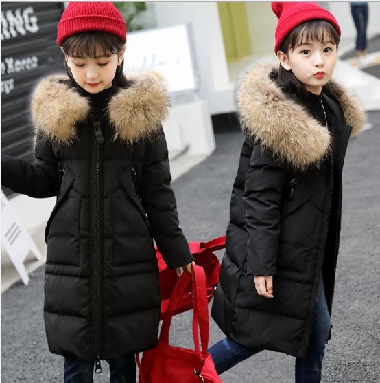 2018 Fur Hood Jacket for Girls Children Snow Wear Cotton-Padded Winter Jacket for Children Christmas Winter Coat for Girls 5-12Y