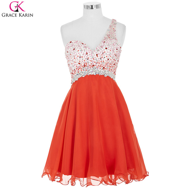 Orange Cocktail Dresses Grace Karin Summer One Shoulder Backless Bead Crystal Robes Cocktail Courte Femme Elegant Cocktail Dress