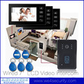 Home Access Control System Wired Video Door Bell Door Phone Intercome 3Pcs 7'LCD Monitor 1Pcs CMOS IR Camera ID Card Keyfob