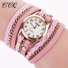 2018 Brand New Fashion CCQ Luxury Vintage Leather Bracelet  Women Wristwatch Ladies Dress Quartz Watches For Female
