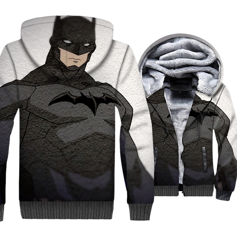 Hip Hop superhero coat wool liner style hooded batman new arrival Men thick jackets 3D print sweatshirts sportswear clothes 2019