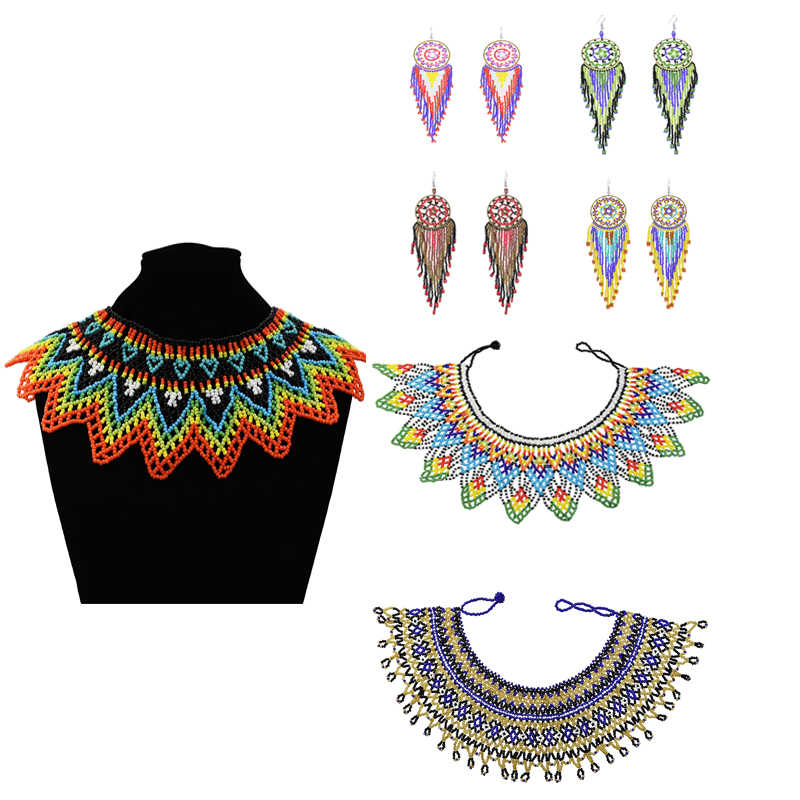Ethnic Bohemian Big Tribal Statement Bib Full Resin Beads Necklace Female Collar Shoulder Chain Women collares African Jewelry