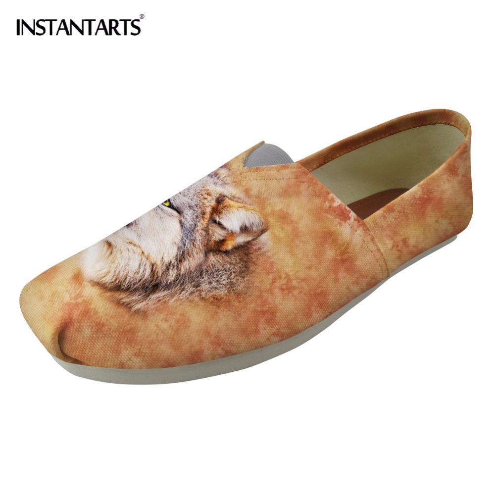 INSTANTARTS Summer Women Lazy Flats Shoes Cool Animal Wolf Tiger Leopard Pattern Woman Student Loafers Canvas Slackers Zapatilla