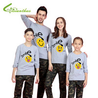Summer Family Matching Clothes Child Parent Home Member Love Smile T Shirt Father Mother Kids Outfits