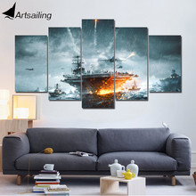 ArtSailing 5 panel wall art on canvas Sea battleship Modular modern Home decoration image paintings for living room up-1133