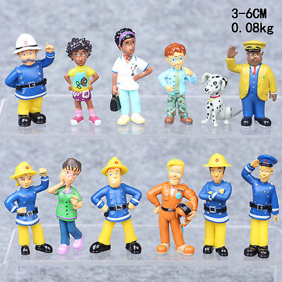 12Pcs/set Fireman Sam Figures Toys Playset Kids Birthday Gifts 3-6cm PVC Dolls Toy Figures