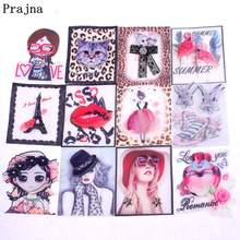 Prajna 3D Patches Fashion Girl Flamingo Animal Stickers Sewing On For Clothing Applique DIY Creative Patch T-shirt Jeans