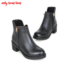 ONLY TRUE LOVE Women's Martin Boots New Spring Autumn Genuine Leather round toe women boots black color