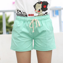Summer Candy Color Elastic Shorts With Belt