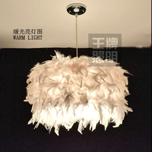 free shipping Feather creative personality single-head chandelier lamp modern minimalist room bedroom living room at