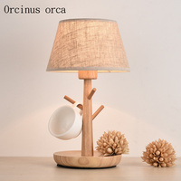 Nordic modern simple wood desk lamp living room bedroom bedside lamp creative personality LED branch decorative table lamp