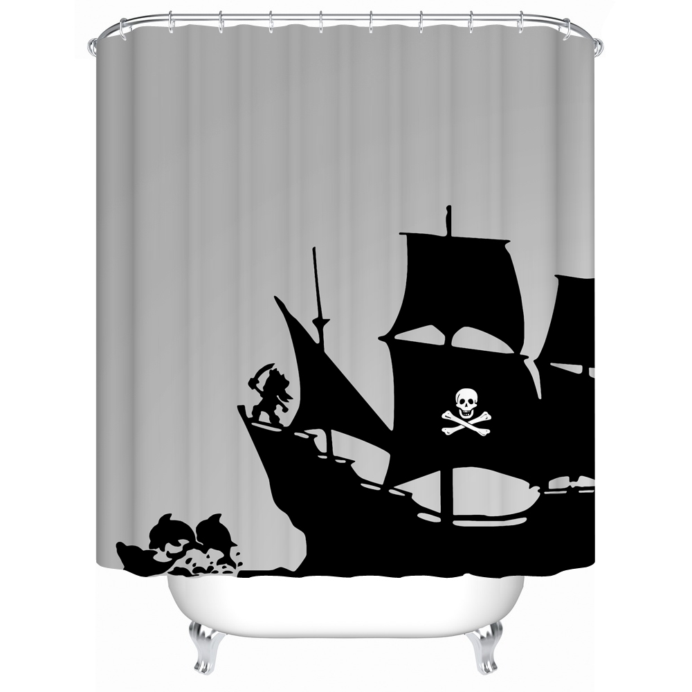 Jolly roger shower curtain - Warm Tourfabric Shower Curtain Waterproof Acceptable Personalized Custom Shower Curtains Bathroom Curtain Pirate Ship180 180cm