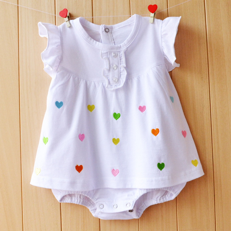 Baby Girl Clothes 2017 Summer Baby Girls Rompers Cotton Newborn Baby Clothes Cute Infant Baby Dress Flower Kids Clothing new summer baby girl clothing sets cotton rainbow flower short sleeve rompers and ruffle bloomers newborn infant girls clothes