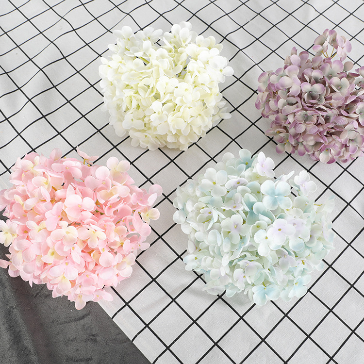 10pcs/lot Silk Hydrangea Flower Head Big Size Wedding Flowers Wall Decoration Bride Bouquet Accessories 176Pcs Petal Composition