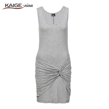 KaigeNina New Fashion Hot Sale Women Waist Clothing Collar Knitted pure Colors Dresses sleevlesses dress 9089