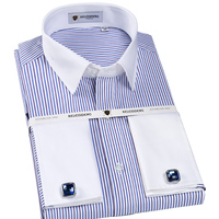 Men S Formal French Cuff Regular Fit Dress Shirts With Cufflinks Premium 100 Cotton Solid Striped