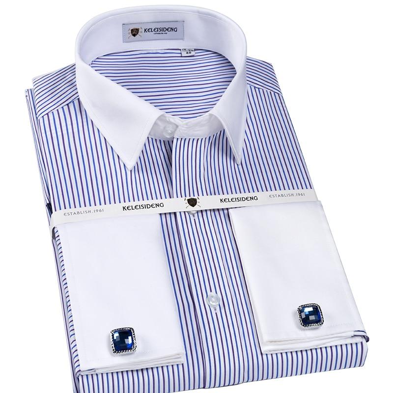 Buy men 39 s formal french cuff regular fit for Cufflinks on regular dress shirt
