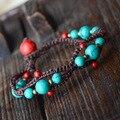 Original handmade turquoise ethnic jewelry bracelet,fashion chinese wind new thailan jewelry vintage tibetan bracelet