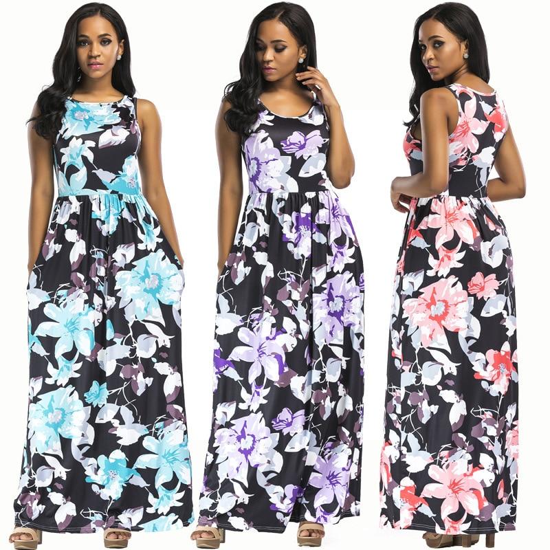 New hot summer North American fashion bohemian casual loose sexy sleeveless printed womens dress