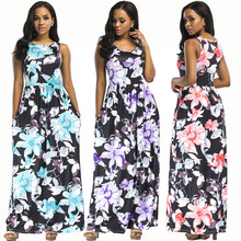 New hot summer North American fashion bohemian casual loose sexy sleeveless printed womens dress