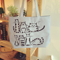 YOUYOU MOUSE Cute Cat Printing Tote Female Canvas Handbags Large Capacity Casual Shoulder Bag Women Beach Bag Shopping Bag