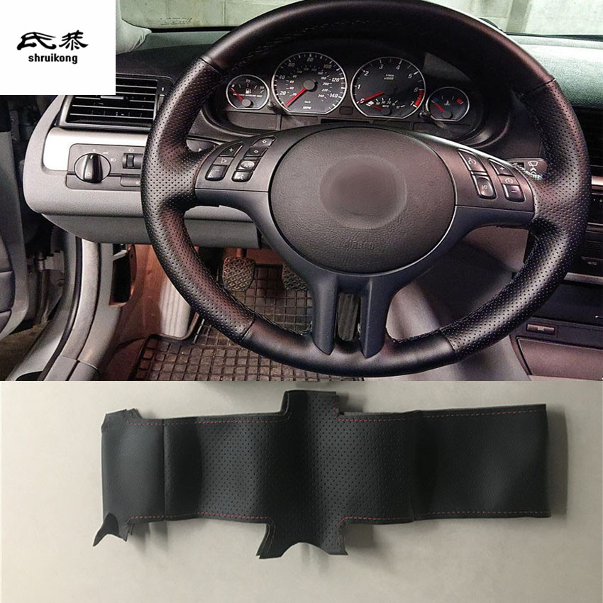 1 set Sew-on Microfiber leather car steering wheel cover Car accessories for BMW E39 E46 325i E53 X5(China)