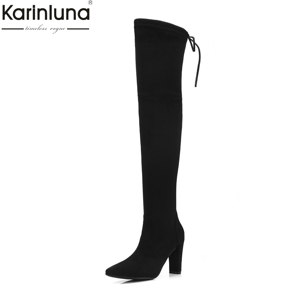 Karinluna 2018 Plus Size 34-43 brand design Shoes Woman Boots Winter Dropship sexy Zip Up Over The Knee Boots Woman Shoes karinluna 2018 plus size 34 43 zip up high heels over the knee boot woman shoes sexy brand hot sale shoes woman party boots