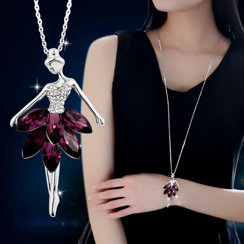 LNRRABC Fashion Crystal Plated Ballerina Girl Charm 1PC New Long Jewellery Gift Alloy Pendant Women Necklace Sweater Chain