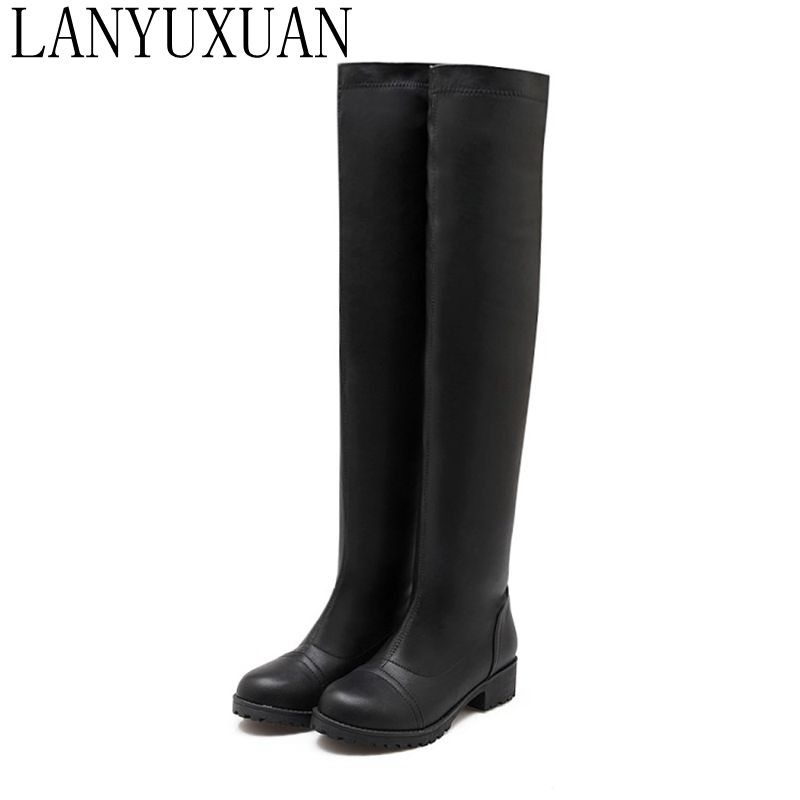 2017 Botas Mujer Big Size 34-43 Brand Design Patch Color Over The Knee Boots Thick Sole Platform Slim Long Winter Autumn 733-5