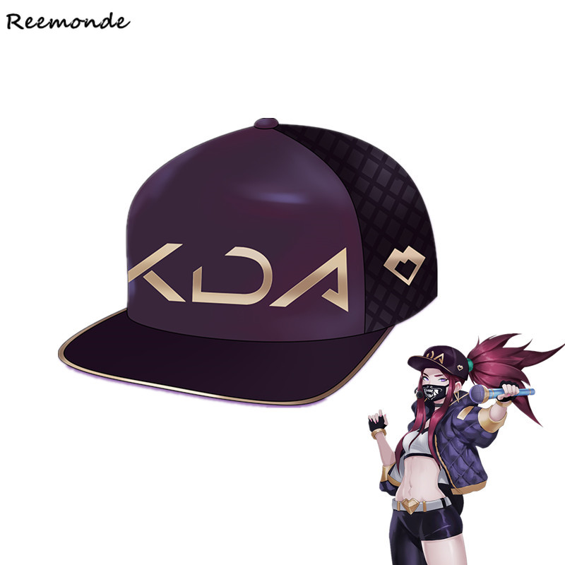 Boys Costume Accessories Game Lol Kda Akali Cosplay Props Hats Men Woman Hip Hop Cap Canvas Hand Embroidery Baseball Caps Hats Sun Demo Hat New Novelty & Special Use