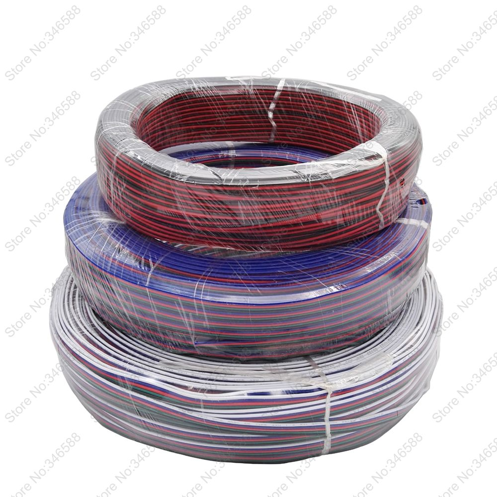 5m/10m/20m/50m LED Cable Extension Wire Cord Connector 22AWG 2Pins 4 Pins 5Pins for RGB RGBW Single Color LED Strips free shipping 4 10 20 50pcs metal grips for cable lock 15mm tube cord cable wire grips m6 ceiling plate connect for pendant lamp