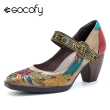 Socofy Retro Pumps Women Shoes Genuine Leather Buckle Mary J