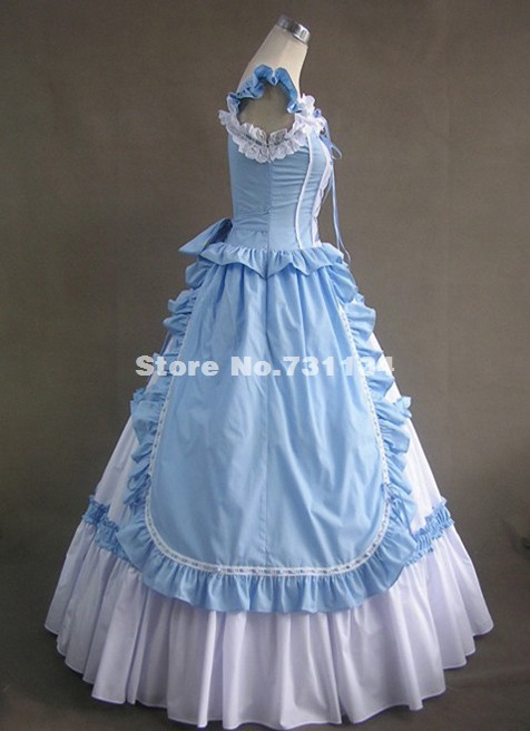 Подгонянное светло-голубое хлопковое викторианская готика платье бальное Пенни дредный театр стимпанк Одежда