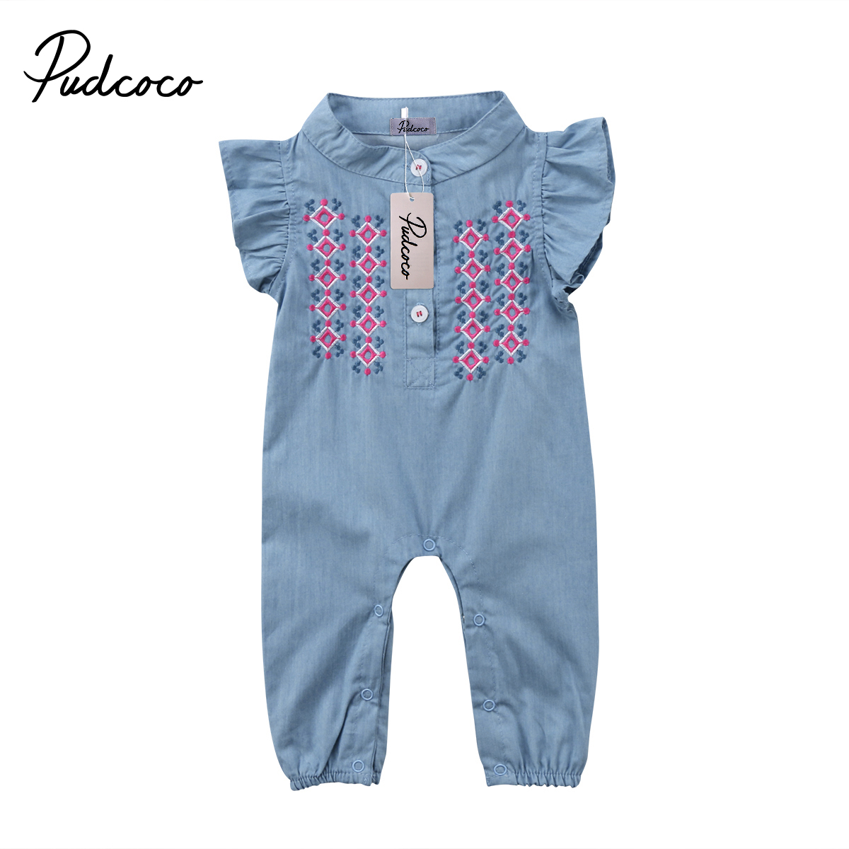 2018 New Cute baby girls denim romper Infant Newborn Baby Girl embroidery Playsuit Jumpsuit Body suit summer baby girl Clothing цена