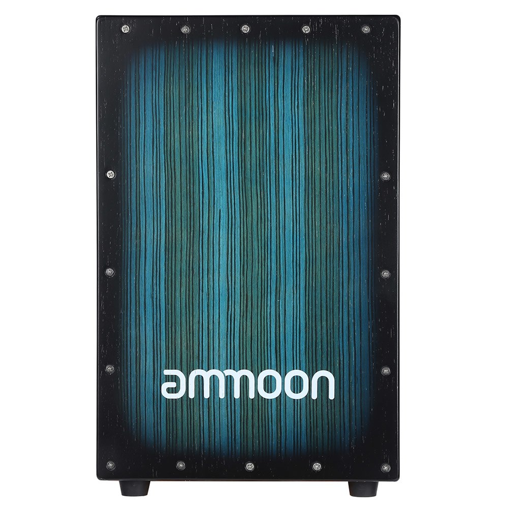ammoon Wooden Box Drum Cajon Hand Drum Persussion Instrument Wood with Stings Rubber Feet 30 * 31 * 48cm