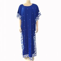 African Dresses For Women New African Beading Design Bazin Short Sleeve Dashiki Dress For Lady Long Maxi Dress Africa Clothing