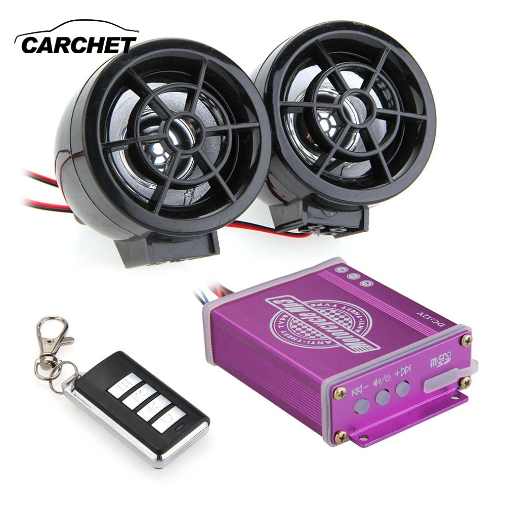 CARCHET Motorcycle Audio FM TF MP3 Speakers Alarm Sound Remote System Anti-Theft 125dB Motor Waterproof Speaker