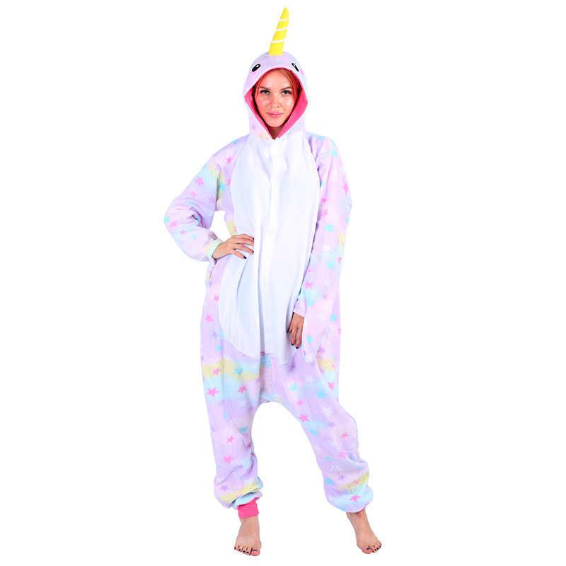 Взрослых унисекс флис животных звезда Narwhal комбинезоны пижамы новинки  пижамы комбинезон ночное белье карнавальные костюмы для 9a89e3c2ca75a