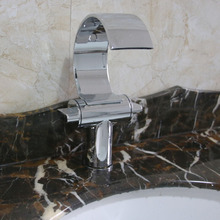 Dual Handles Waterfall Deck Mount Basin Faucet Chrome Brass Bathroom Hot and Cold Water Mixer Taps