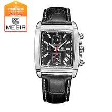 Megir reloj hombre cronógrafo función fecha lumino titan reloj de cuero genuino de lujo superior marca de relojes militares relogio masculino