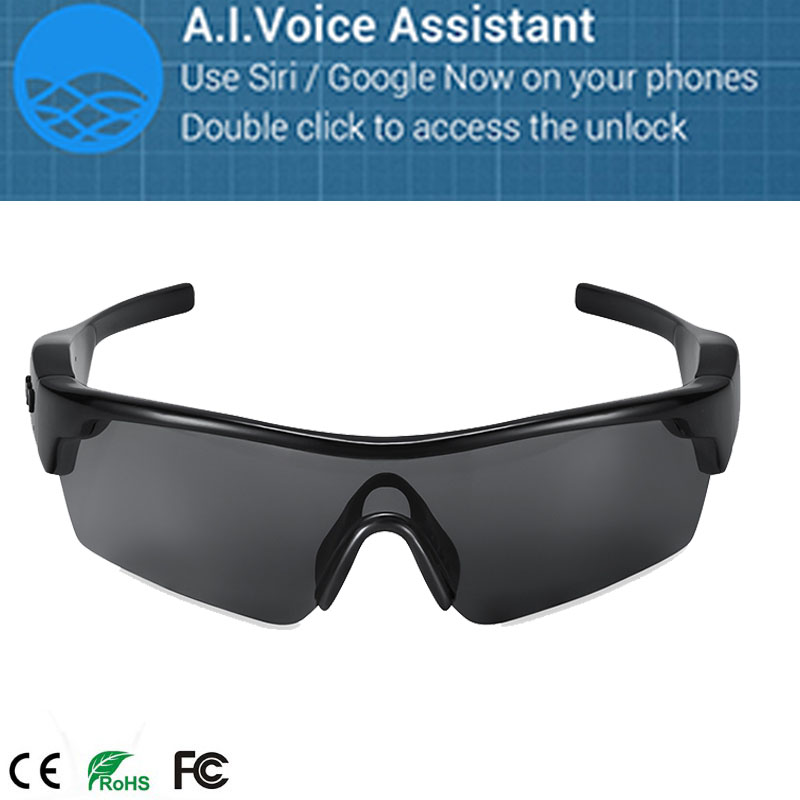 Fashion Bluetooth Smart Glasses with Voice control Supports Siri / Google Now UV400 protection, polarized lens interchangeable