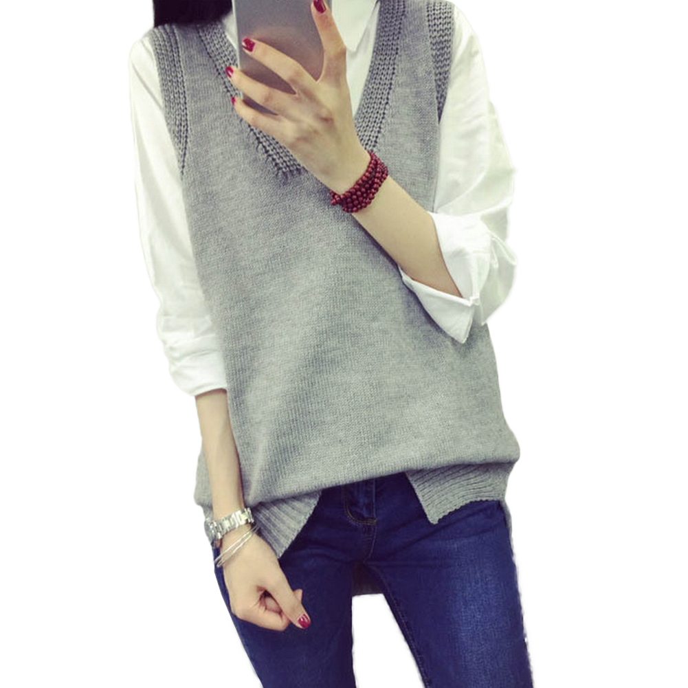 Autumn Winter V-Neck Sleeveless Sweater Vest Coat Women Casual Loose Office Lady Solid Knitted Tank Tops Pullover