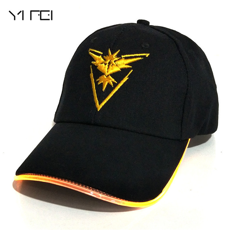 YIFEI 2018 Team Valor Team Instinct Pokemon   Baseball     Cap   for Women Men Fitted Hat Glow In The Dark New LED Light Pokemon Go   Cap