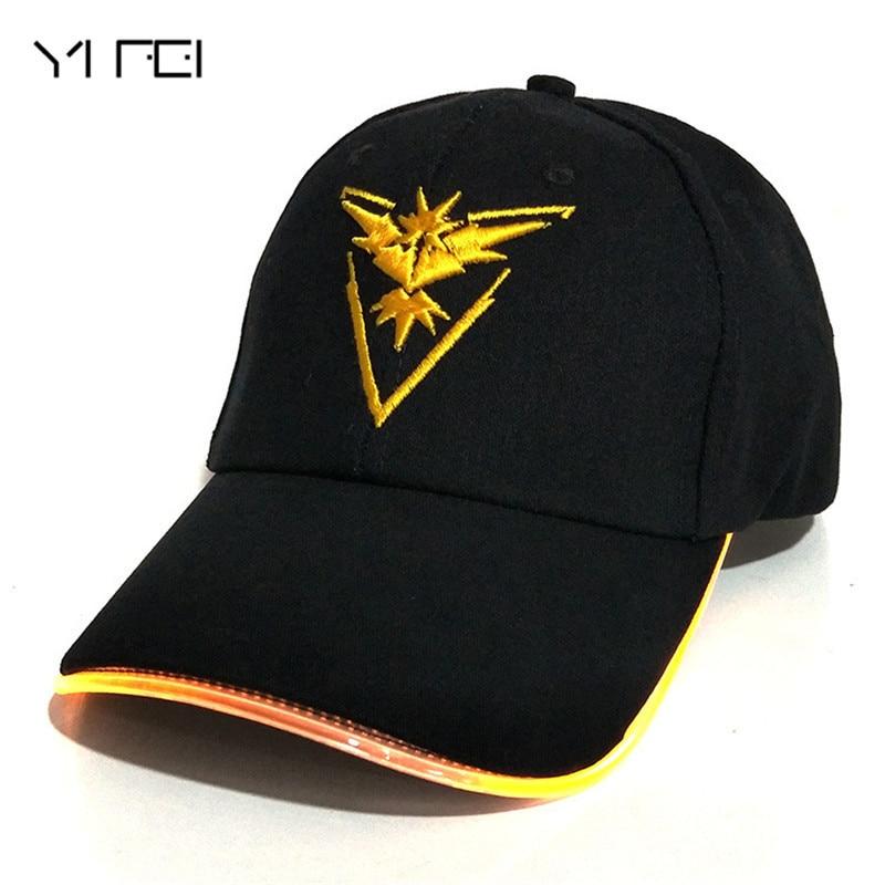 yifei-2018-team-valor-team-instinct-font-b-pokemon-b-font-baseball-cap-for-women-men-fitted-hat-glow-in-the-dark-new-led-light-font-b-pokemon-b-font-go-cap