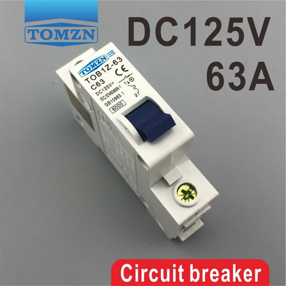 DC Circuit Breaker MCB Solar 125v Single Pole 1P Tomzn TOB1Z-63 C63