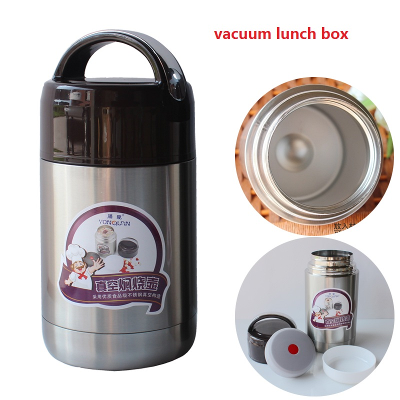 Free Shipping lunch box 1000ml Double layer stainless steel vacuum insulation roast stew pot insulation boxes camping bucket pot